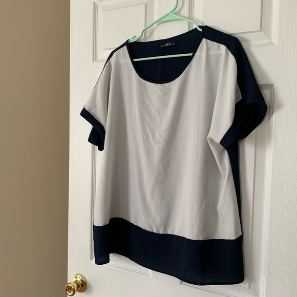 SHEIN Tops - Shein Navy and White Top